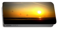 Paragliders At Sunset Portable Battery Charger