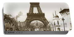 Portable Battery Charger featuring the photograph Paris Exposition Eiffel Tower Paris France 1900  Historical Photos by California Views Mr Pat Hathaway Archives