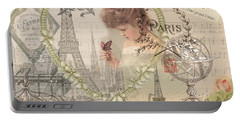 Paris Vintage Collage With Child Portable Battery Charger