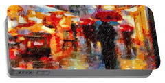 Parisian Rain Walk Abstract Realism Portable Battery Charger