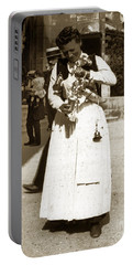 Portable Battery Charger featuring the photograph Parisian Woman Lady Paris France 1900 Historical Photo by California Views Mr Pat Hathaway Archives