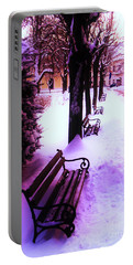 Park Benches In Snow Portable Battery Charger by Nina Ficur Feenan