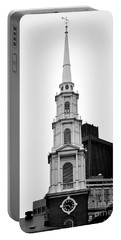 Park Street Church Boston Black And White Portable Battery Charger