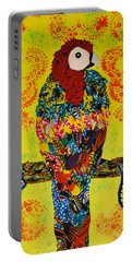 Portable Battery Charger featuring the tapestry - textile Parrot Oshun by Apanaki Temitayo M