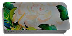 Portable Battery Charger featuring the painting Passionate Gardenia by Beverley Harper Tinsley