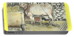 Cow In A Barn Portable Battery Charger by Francine Heykoop