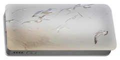 Pastel Gulls In Fog Portable Battery Charger