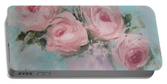Pastel Pink Roses Painting Portable Battery Charger
