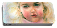 Pastel Portrait Of An Angelic Girl Portable Battery Charger