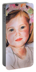 Pastel Portrait Of Girl With Flowers In Her Hair Portable Battery Charger