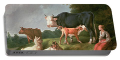 Pastoral Scene Oil On Canvas Portable Battery Charger by Jean-Baptiste Huet