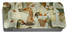 Patchwork Geese Portable Battery Charger by Ditz