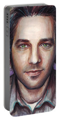 Paul Rudd Portrait Portable Battery Charger by Olga Shvartsur