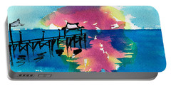 Portable Battery Charger featuring the painting Pawleys Island Sunrise Watercolor by Frank Bright
