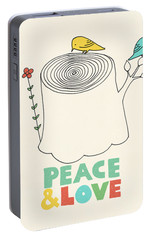 Peace And Love Portable Battery Charger by Eric Fan