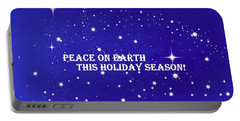 Peace On Earth Card Portable Battery Charger by Kathy Barney
