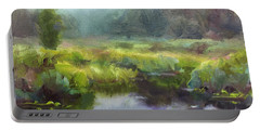 Peaceful Waters Impressionistic Landscape  Portable Battery Charger