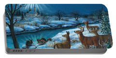 Portable Battery Charger featuring the painting Peaceful Winters Night by Randy Wollenmann