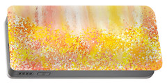 Peach And Yellow Garden- Peach And Yellow Art Portable Battery Charger by Lourry Legarde