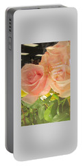 Peach Roses In Greeting Card Portable Battery Charger
