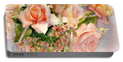 Portable Battery Charger featuring the painting Peach Roses In Vase by Bonnie Rinier