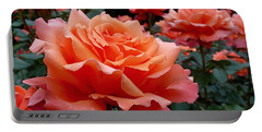 Portable Battery Charger featuring the photograph Peach Roses by Rona Black