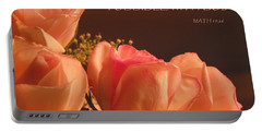 Peach Roses With Scripture Portable Battery Charger