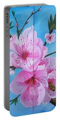Peach Tree In Bloom Diptych Portable Battery Charger