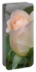 Portable Battery Charger featuring the photograph Fragile Peach Rose Bud by Belinda Lee