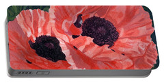 Portable Battery Charger featuring the painting Peachy Poppies by Lynne Reichhart