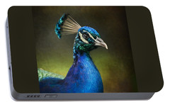 Portable Battery Charger featuring the photograph Peacock by Ann Lauwers