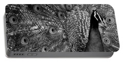 Portable Battery Charger featuring the photograph Peacock Bw by Ron White