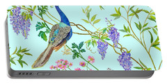 Peacock Chinoiserie Surface Fabric Design Portable Battery Charger by Kimberly McSparran