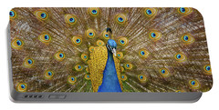 Peacock Courting Portable Battery Charger by Charles Beeler