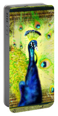 Portable Battery Charger featuring the drawing Peacock by Daniel Janda