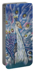Peacock Dressed In White Portable Battery Charger