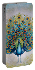 Portable Battery Charger featuring the painting Peacock by Elena Oleniuc