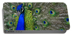 Peacock Head Portable Battery Charger by Debby Pueschel
