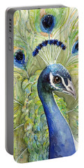 Peacock Watercolor Portrait Portable Battery Charger