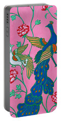 Peacocks Flying Southeast Portable Battery Charger by Xueling Zou