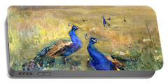 Peacocks In A Field Portable Battery Charger by Mildred Anne Butler