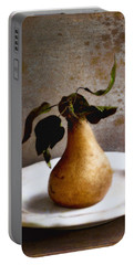 Pear On A White Plate Portable Battery Charger by Louise Kumpf
