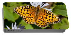 Portable Battery Charger featuring the photograph Pearl Border Fritillary Butterfly On An Aster Bloom by Jeff Goulden
