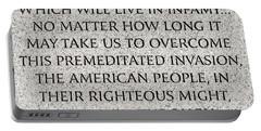 Pearl Harbor Speech - Franklin Delano Roosevelt Portable Battery Charger