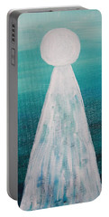 Abstract Pearl On Teal Portable Battery Charger