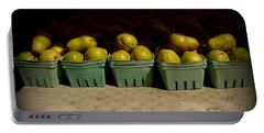 Portable Battery Charger featuring the photograph Sunny Green Pears At The Fair by Miriam Danar
