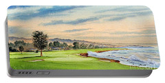Pebble Beach Golf Course 18th Hole Portable Battery Charger by Bill Holkham