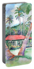 Portable Battery Charger featuring the painting Peeking Between The Palm Trees 2 by Marionette Taboniar
