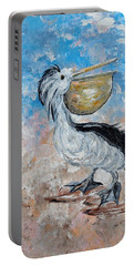 Portable Battery Charger featuring the painting Pelican Beach Walk - Impressionist by Eloise Schneider