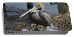 Pelican On Rocks Portable Battery Charger by Judith Morris